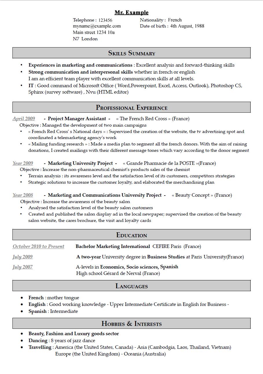 cv writing placement trust internships in london cv good example
